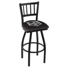 Los Angeles Kings 25'' Black Wrinkle Finish Swivel Counter Height Stool with Jailhouse Style Back
