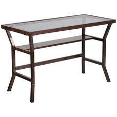 Contemporary Desk with Dark Gray Tempered Glass