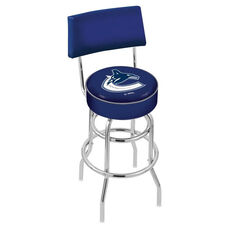 Vancouver Canucks 25'' Chrome Finish Swivel Counter Height Stool with Double Ring Base