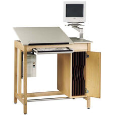 Split Top Drawing Table System with Vertical Board Storage