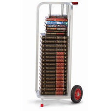 V-Shaped Steel Frame Book Cart with Rubber Wheels - 44''H