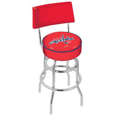 Washington Capitals 25'' Chrome Finish Swivel Counter Height Stool with Double Ring Base