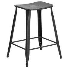24'' High Distressed Black Metal Indoor-Outdoor Counter Height Saddle Comfort Stool