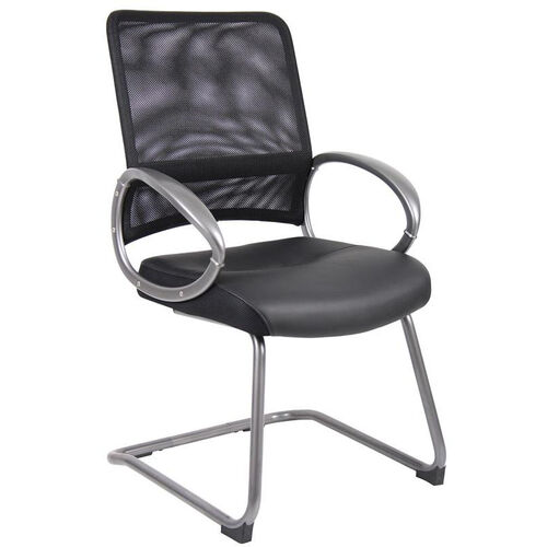 Mesh Back Guest Chair with Loop Arms - Black