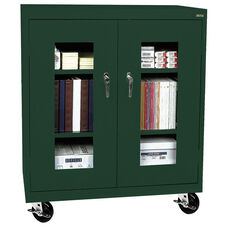 See-Thru Series 36'' W x 18'' D x 48'' H Clear View Mobile Counter Height Cabinet - Forest Green