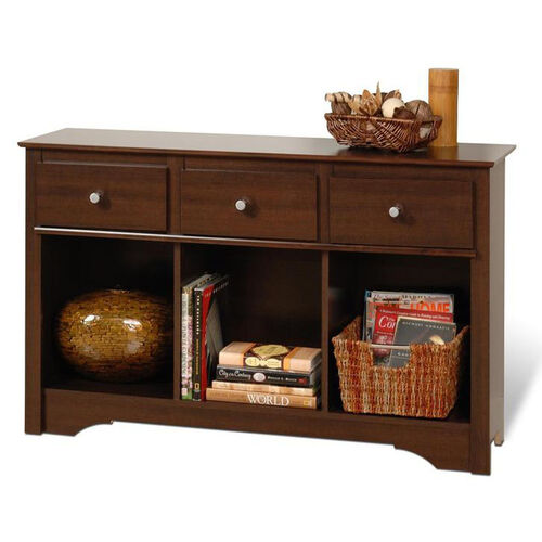 Fremont 30.25''H Living Room Console with 3 Open Storage Compartments and 3 Drawers - Espresso