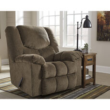 Signature Design by Ashley Turboprop Rocker Recliner in Brownstone Fabric