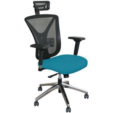 Fermata Executive Mesh Chair with Aluminum Base and Headrest - Teal Fabric