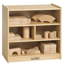 Natural Birch Small Multi-Cubby Block Storage Cart - 13''D x 24''H