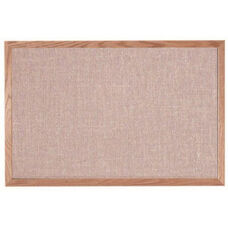 Designer Fabric Bulletin Board with Oak Frame - Quartz - 24''H x 36''W