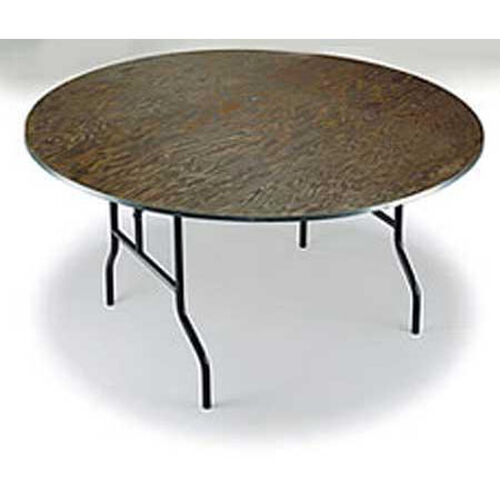 E Series Small Walnut Stain Top Plywood Core 30''Diameter Round Folding Table - 30''H