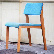 Danish Spunk Armless Wood and Fabric Side Chair - Blue