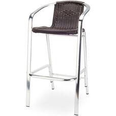 Bermuda Bar Arm Chair with Polished Aluminum Frame - Espresso