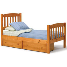 Rustic Style Solid Pine Mission Bed with Storage - Twin - Honey