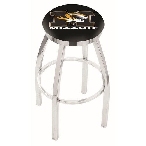 University of Missouri 25'' Chrome Finish Swivel Backless Counter Height Stool with Accent Ring