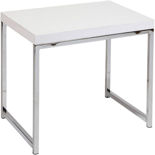 Ave Six Wall Street Wood Veneer End Table with Chrome Finished Steel Base - White