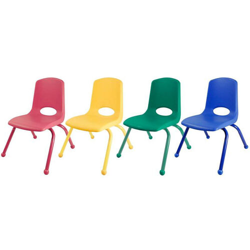 Set of Six 14''H Vented Back Stacking Chairs with Matching Legs and Ball Glides - Assorted Colors