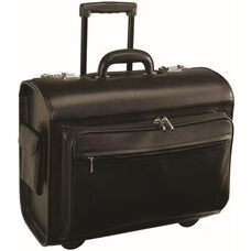 Executive Rolling 15'' Laptop Briefcase Bag - Top Grain Nappa Leather - Black