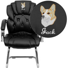 Embroidered Black Leather Button Tufted Transitional Side Reception Chair with Sled Base