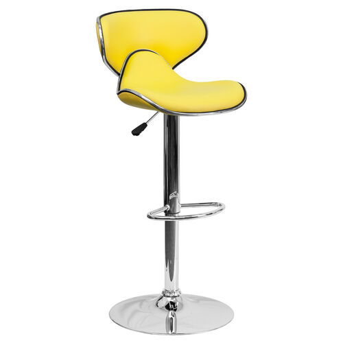 Contemporary Cozy Mid-Back Yellow Vinyl Adjustable Height Barstool with Chrome Base