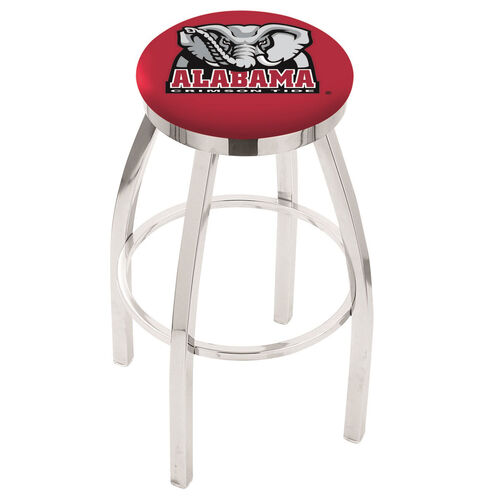 University of Alabama 25'' Chrome Finish Swivel Backless Counter Height Stool with Accent Ring