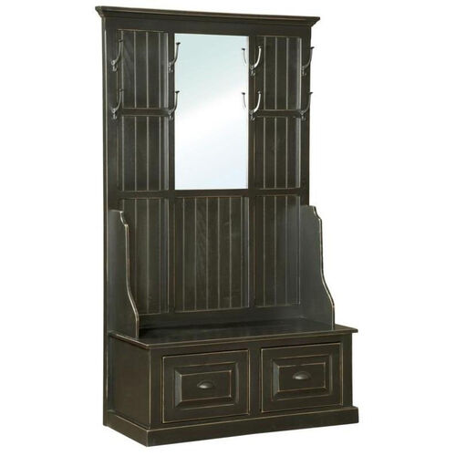 John Rustic Style 22''W x 12.75''D Solid Pine Hall Tree with Mirror - Black