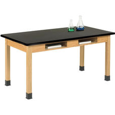 Science Lab Wooden Table with 1.25'' Thick Black Plastic Laminate Top and 2 Book Compartments - 48''W x 24''D x 30''H