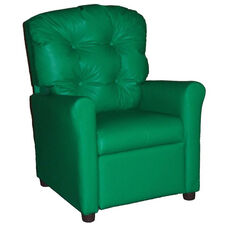 Kids Recliner with Button Tufted Back - Green Vinyl