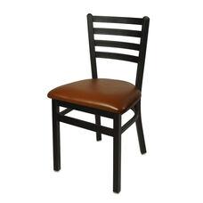 Lima Metal Ladder Back Chair - Light Brown Vinyl Seat