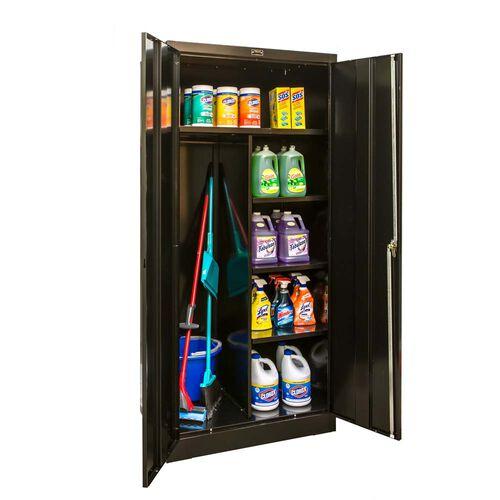 800 Series One Wide Single Tier Double Door Combination Cabinet - Unassembled - Midnight Ebony - 36''W x 24''D x 78''H