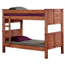 Rustic Style Solid Pine Post Bunk Bed - Twin Over Twin - Mahogany Stain