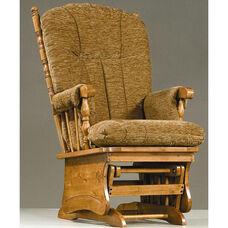 Post Back Glider with Solid Panel and Arm Pads - Maple Finish