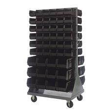 36''L x 25''W x 72''H Mobile Double Sided Louvered Rack Unit with 96 Bins - Black