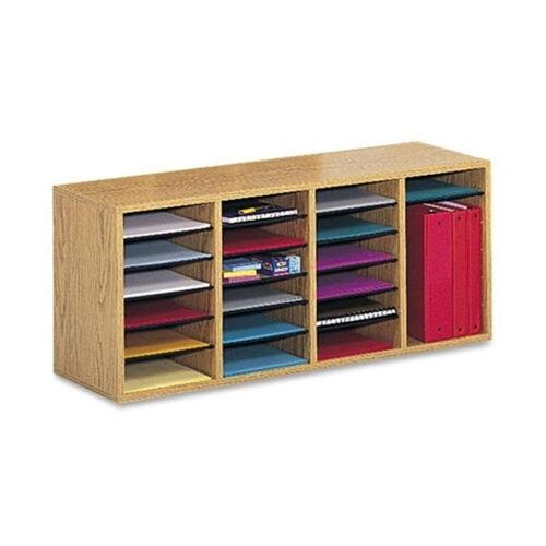 Safco Adjust Organizer -39 3/8'' x 11 3/4'' x 16 3/8 -24 Compartment -Oak