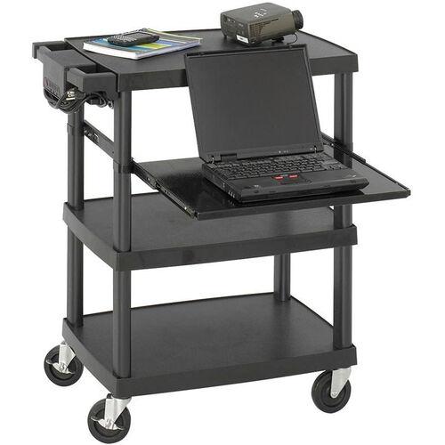 27.75'' W x 18.75'' D x 34.75'' H Plastic Multimedia Projector Cart - Black