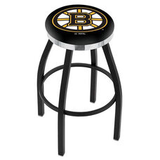Boston Bruins 25'' Black Wrinkle Finish Swivel Backless Counter Height Stool with Chrome Accent Ring