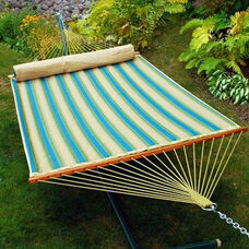 Reversible Quilted Polyester Fabric 13' Hammock with Matching Pillow - Forest Stripe and Sand Solid