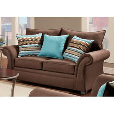 Jayne Contemporary Style Polyester Loveseat - Jitterbug Cocoa