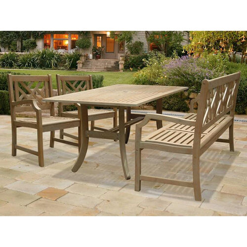 Renaissance 4 Piece Saber Leg Table Outdoor Dining Set with Herringbone Back Bench and 2 Herringbone Back Arm Chairs
