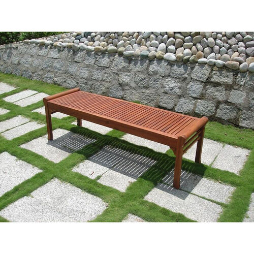 5' Outdoor Backless Bench with Rolled Sides and Slat Seat