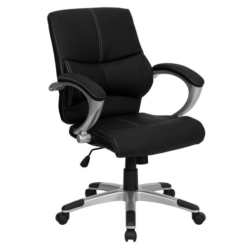 Mid-Back Black Leather Contemporary Swivel Manager's Chair with Arms