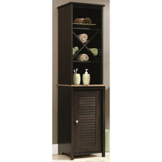 Bath Collection 60.625''H Linen Tower with Faux Granite Shelf - Cinnamon Cherry