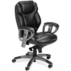 Mayline Group Ultimo Mid-Back Swivel and Tilt Executive Chair with Adjustable Padded Arms - Black Leather
