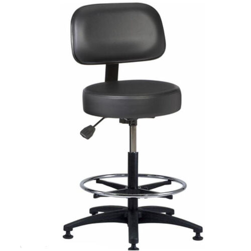 Industrial Round Vinyl ABS Base Stool with Aseptic Shroud Backrest, Glides, and Footring