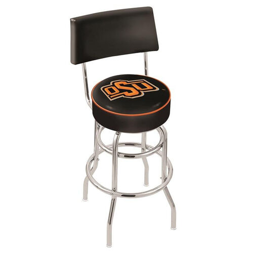 Oklahoma State University 25'' Chrome Finish Swivel Counter Height Stool with Double Ring Base