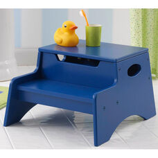 Kids Sturdy Wooden Step 'N Store Two Step Stool with Storage - Blue