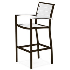 POLYWOOD® Euro Bar Arm Chair - Textured Bronze / White