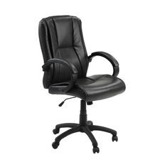 Sella Height Adjustable Ergonomic Leather Office Chair with Lumbar Adjustment - Black