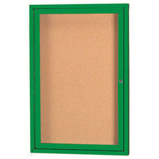 1 Door Indoor Illuminated Enclosed Bulletin Board with Green Powder Coated Aluminum Frame - 24''H x 18''W