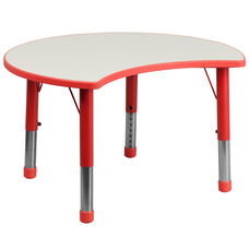 25.125''W x 35.5''L Cutout Circle Red Plastic Height Adjustable Activity Table with Grey Top